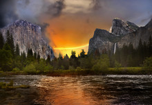 Sunset In Mountains Yosemite V...