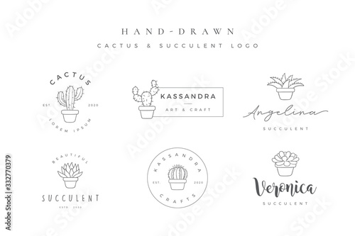 Obraz na płótnie Minimalist hand drawn cactus and succulent logo