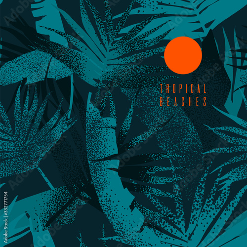 Tropical leaves pattern. Seamless texture with banana leaves and palm tree leaf. Banner for the travel and tourism industry, summer season. Dark blue floral design element.