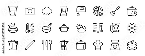 Fotografía Set of icons for cooking and kitchen, vector lines, contains icons such as a knife, saucepan, boiling time, mixer, scales, recipe book
