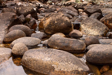 Low Closeup Shot Of River Rock...