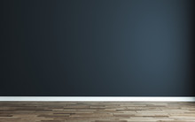 Empty Room With Modern Dark Blue Wall And Wooden Floor