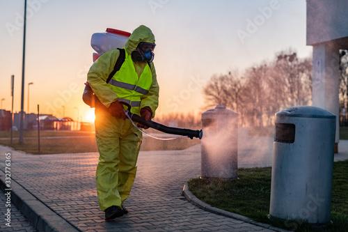 Obraz city cleaning - disinfection of public places - coronavirus - fototapety do salonu