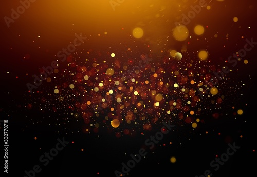 Photo Abstract background with shining golden particle stars dust.