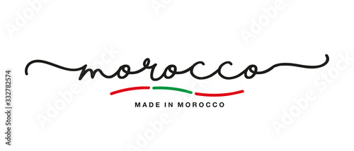 Canvastavla Made in Morocco handwritten calligraphic lettering logo sticker flag ribbon bann