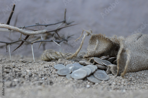 Fotografering sack with the thirty silver coins biblical symbol of the betrayal of judas
