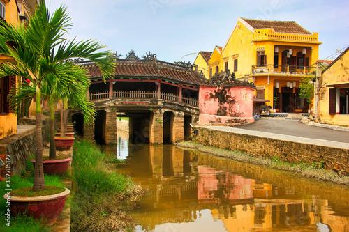 Leinwand Poster The Japanese Bridge in Hoi An, Vietnam, Asia