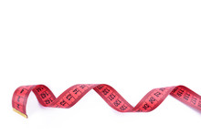 Slim Concept. Red Measuring Tape Isolated On A White Background. Healthy Eating Concept.