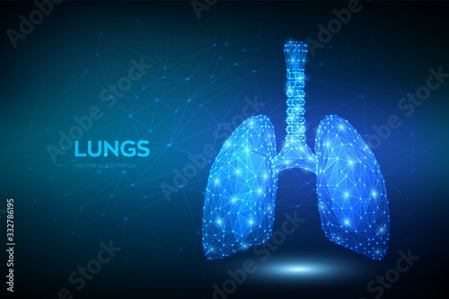 Obraz Lungs. Low polygonal human respiratory system lungs anatomy. Treatment of lung diseases. Medicine cure tuberculosis, pneumonia, asthma. Abstract health care medical concept. Vector illustration. - fototapety do salonu