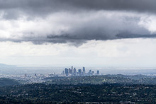 Dark Storm Clouds Above Los Angeles In Southern California.