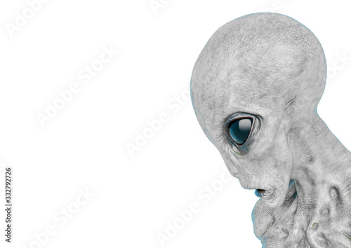 grey alien on military ready to win in white background Canvas Print