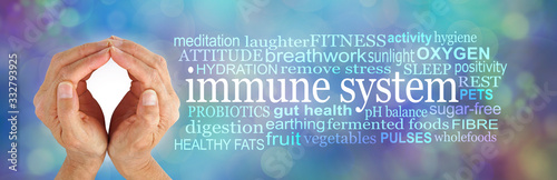 How to SHIELD and boost your Immune System Word Cloud -  female cupped hands beside an IMMUNE SYSTEM word cloud on a  multicoloured bokeh wispy cellular theme background - 332793925