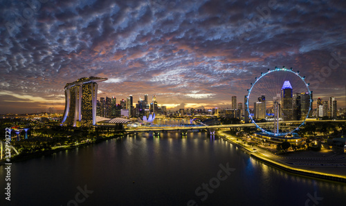Singapore, 2019 - Fun never sleep life on Marina Bay, iconic buildings and attractions of the Lion city, must see touristic tour Tablou Canvas