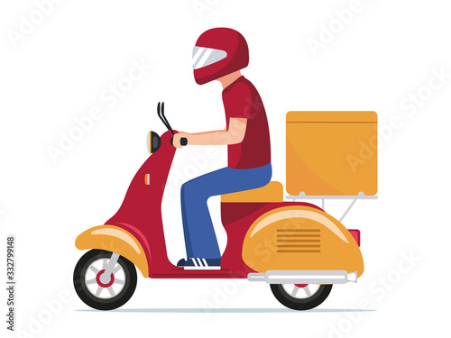 Fotografija Food delivery man riding a scooter