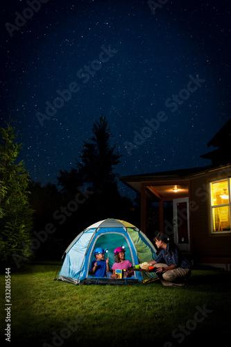Kids Camping in Backyard Canvas Print