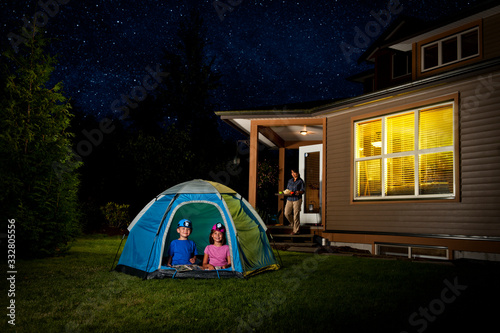 Fotografie, Obraz Kids Camping in Backyard
