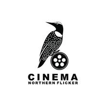 Northern Flicker Cinema Bird Film Reel Vector Logo Design