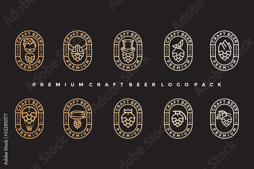 pack of vintage craft beer logo. simple icon, template design Wallpaper Mural