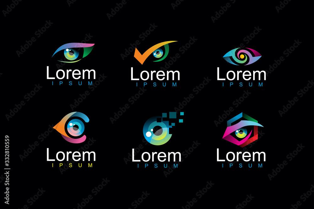 Fototapeta pack of eye logo icon illustration