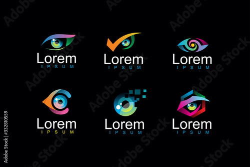 Fototapeta pack of eye logo icon illustration obraz