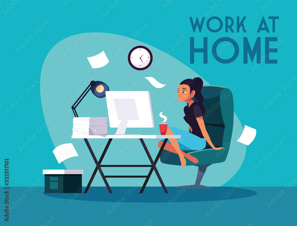 Fototapeta woman freelancer working remotely from her home, work at home