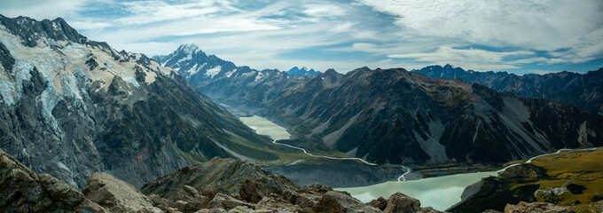 Mountains and lake on Mueller Hut trek at Mount Cook National Park