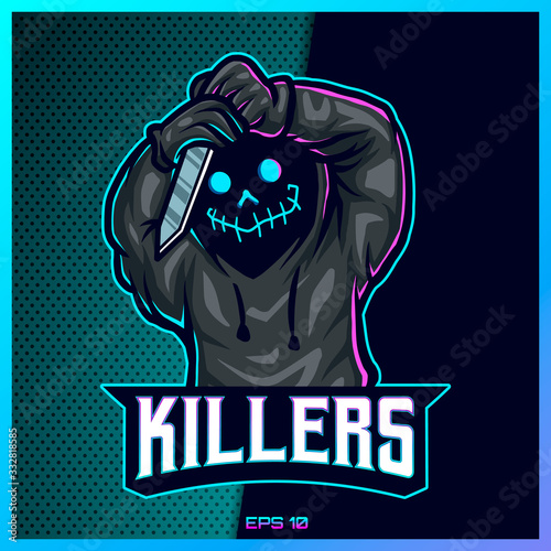 Fotografía Hood reaper glow color esport and sport mascot logo design in modern illustration concept for team badge, emblem and thirst printing