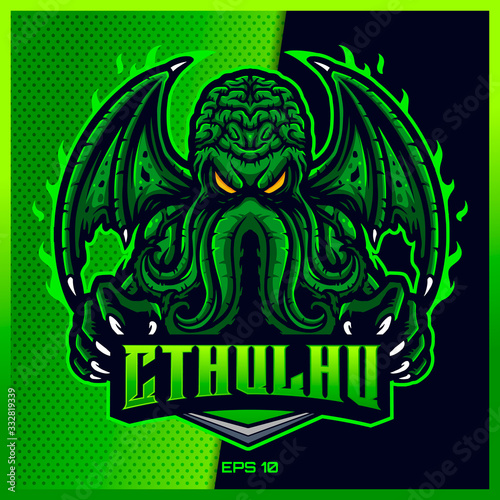Green Cthulhu grab text esport and sport mascot logo design in modern illustration concept for team badge, emblem and thirst printing фототапет
