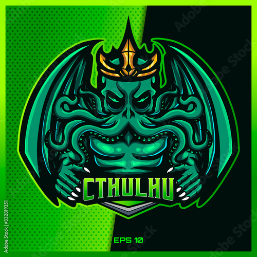 Green Cthulhu grab text esport and sport mascot logo design in modern illustration concept for team badge, emblem and thirst printing Fototapet