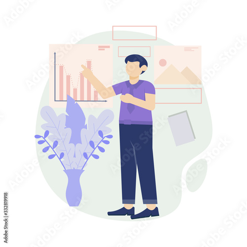 Fototapety, obrazy: young man doing a presentation at the office Vector flat design illustration