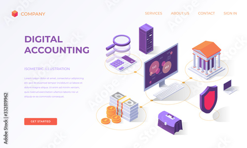 Landing page for digital accounting Canvas Print