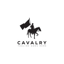 Cavalry Logo, With Man, Flag And Horse Vector