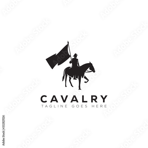 Photo cavalry logo, with man, flag and horse vector