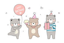 Draw Cute Bear With Cupcake Gi...