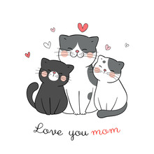 Draw Cat Mom And Baby With Little Heart On White For Mother'day.