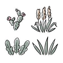 Set Of Hand-drawn Houseplants