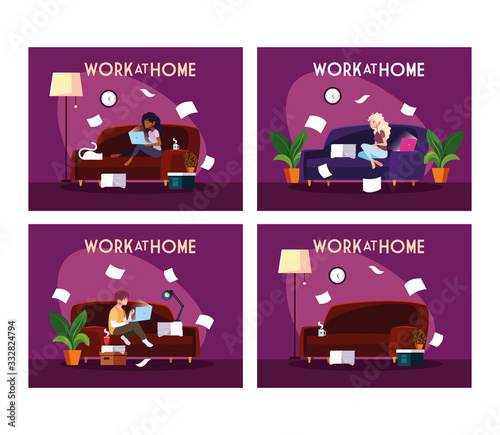 Obraz set of cards people working from her home - fototapety do salonu