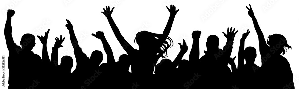 Fototapeta Cheerful crowd of people cheering applause. Party disco concert sport. Fan happy people. Silhouette vector illustration