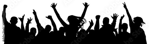 Obraz Cheerful crowd of people cheering applause. Party disco concert sport. Fan happy people. Silhouette vector illustration - fototapety do salonu