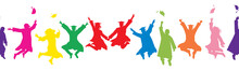 Colorful Silhouettes Of Jumpin...