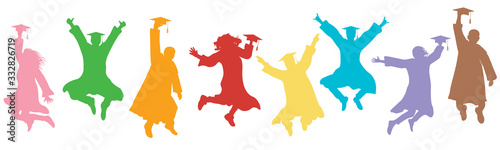 Obraz Jumping students graduates in mantles and square caps on graduation. Colorful silhouettes, vector illustration. - fototapety do salonu