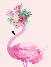 Cute Flamingo Vector Illustration, Seamless Pattern, Textile Graphic, Wallpaper Designs.