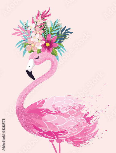 Fényképezés Cute flamingo vector illustration, seamless pattern, textile graphic, wallpaper designs