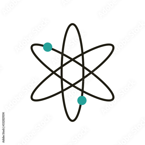 Photo Isolated chemistry atom half line half color style icon vector design