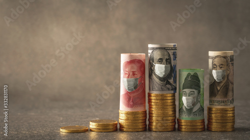 Fototapeta Gold Coin and World Currency obraz
