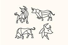 Pack Of Polygon Bull Tattoos Logo Vector Illustration