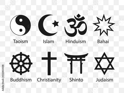 Obraz Religious symbols icon set. Vector illustration, flat design. - fototapety do salonu