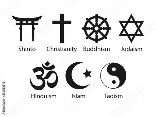 Fényképezés Religious symbols icon set. Vector illustration, flat design.