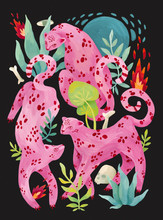 Illustration Of Pink Leopards