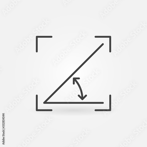 Photo Vector 45 degrees angle outline concept icon or design element